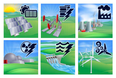 hydro electric: Different types of power or energy generation with icons. Photovoltaic cells solar renewable, oil well pumpjacks, fossil fuel power plant with cooling towers, nuclear,  hydroelectric water dam sustainable and wing turbine wind farm alternative