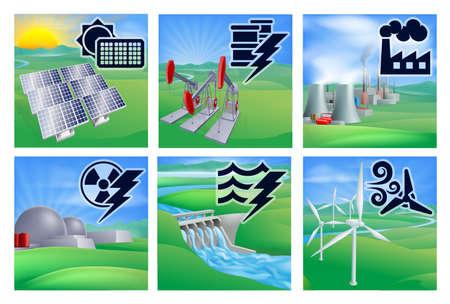 powerplant: Verschillende soorten kracht of energie opwekking met pictogrammen. Fotovoltaïsche cellen zonne-hernieuwbare, oliebron pumpjacks, fossiele brandstoffen centrale met koeltorens, kernenergie, waterkracht water dam duurzame en vleugel turbine windmolenpark alternatief