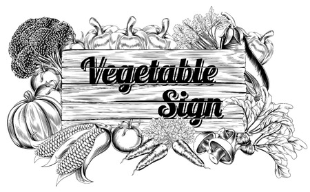 veges: A vintage retro woodcut print or etching style vegetable wooden sign illustration