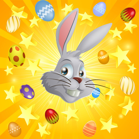 rabit: Easter bunny and Easter eggs and stars background