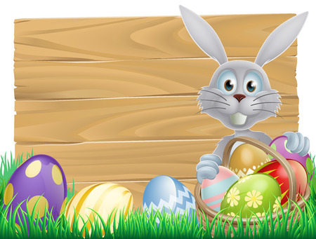 rabit: Easter wood sign with the Easter bunny and decorated Easter eggs Illustration