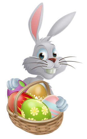 A white Easter bunny rabbit with a basket of chocolate Easter eggs Vector