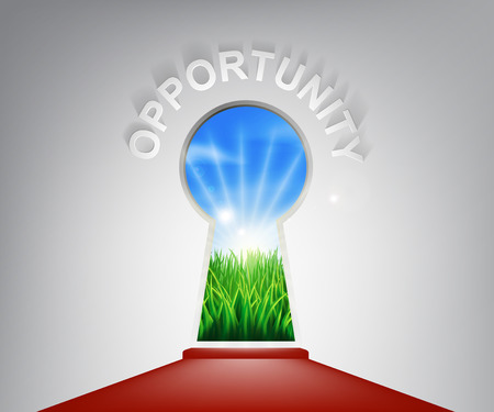 self improvement: A conceptual illustration of a opportunity keyhole entrance opening onto a field of lush green grass. Concept for a new life or opportunity