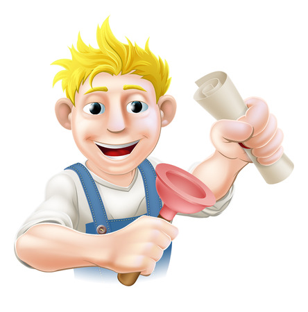 plummer: Plumber or janitor with certificate, qualification or other scroll and plunger. Education concept for being professionally qualified or certificated.