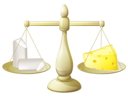 Comparing chalk and cheese on a set of scales conceptual illustration for necessity to balancing different things or futility of trying to do so Illustration