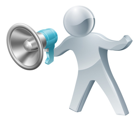 referral: An illustration of a cute silver person shouting into megaphone or bullhorn.