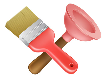 handyman cartoon: Crossed plunger and paintbrush tools icon of cartoon tools crossed, construction or DIY or service concept