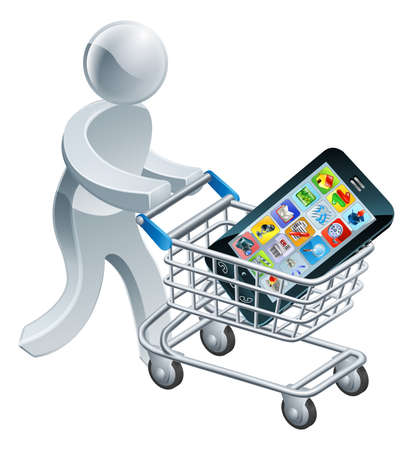 trolly: A person pushing a shopping cart or trolley with a large mobile cell phone in it