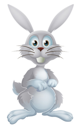 An illustration of a cute cartoon white rabbit or Easter bunny
