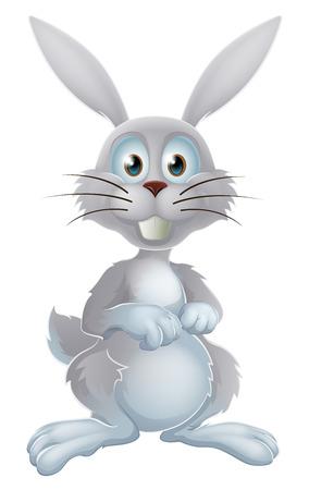 conejo caricatura: Una ilustración de una caricatura conejo blanco lindo o conejo de Pascua Vectores