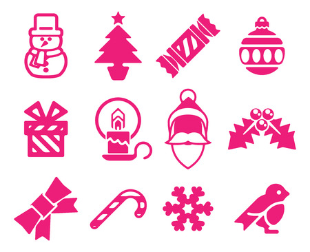 A set of modern Christmas icons including snowman, Santa and snowflake  Vector
