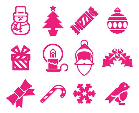 christmas cracker: A set of modern Christmas icons including snowman, Santa and snowflake  Illustration