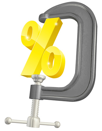 d offer: Conceptual illustration of a percentage sign in a C or G clamp. Being squeezed by high interest rates or keeping down rates or getting a bargain, a lot of possible uses.