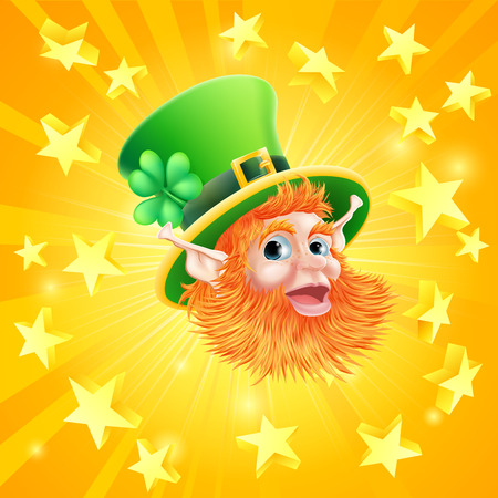 A St Patrick's day leprechaun background with leprechauns face in the centre of orange explosion of gold stars Vector