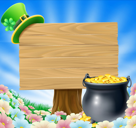 A St Patricks Day concept; pot of gold and a green Leprechaun hat with clover hanging on a wooden sign in a field of flowers