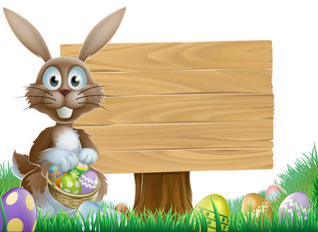 Easter bunny rabbit with a wooden sign holding painted Easter eggs basket Vector