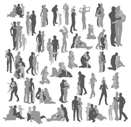 ser padres: Muy muchas siluetas detalladas de alta calidad de una joven familia feliz, la pareja y los ni�os, en varias poses