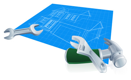 paper art projects: House blueprint construction concept of a blueprint for a new home and wrench, spanner and hammer