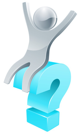 questioning: Silver person sitting on a question mark sign, could be concept for finding the answer