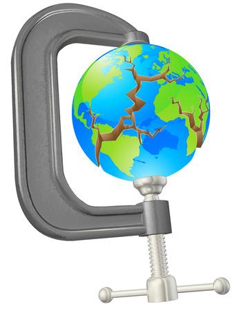 ecological damage: Illustration of a clamp cracking a world globe concept Illustration
