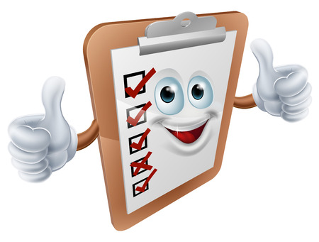An illustration of a happy clipboard survey mascot giving a double thumbs up Vector