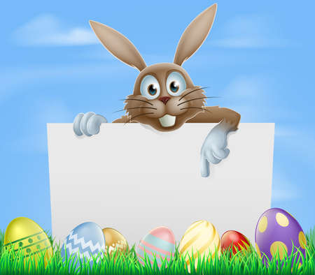 The Easter bunny and chocolate painted eggs sign Vector