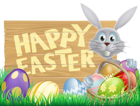 Easter wood sign reading Happy Easter with the Easter bunny and decorated Easter eggs Vector