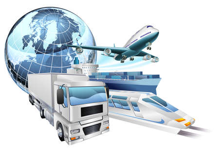 logistics world: Dynamic logistics city business concept with delivery transport vehicles and globe