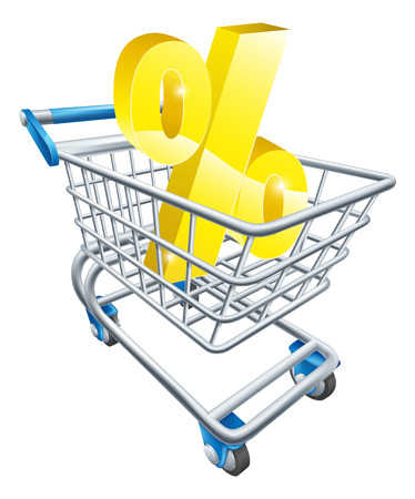inflation basket: Percentage trolley concept of percent sign in a supermarket shopping cart or trolley, shopping for best APR or mortgage rate or loan etc.