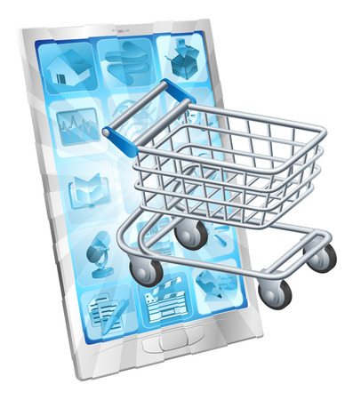 troley: Mobile shopping app concept with a shopping cart or trolley coming out of a phone screen
