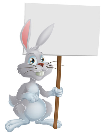 eater: A cute cartoon white Easter bunny rabbit holding a sign Illustration