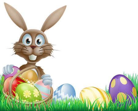 huevo caricatura: Una caricatura Pascua conejo de conejo con una canasta de huevos de pascua