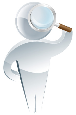 looking: Examining with a magnifying glass concept, a cute mascot looking intently at the viewer or searching