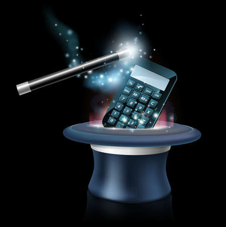 Magic maths concept with calculator coming out of a magicians top hat with a magic wand waving over it, could also be a concept for finding maths difficult or mysterious. Illustration