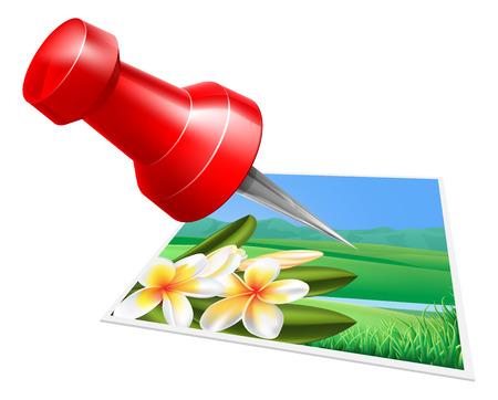 připínáček: Připnout ikona foto, velký červený pin nebo palec připínáček připnout obraz k něčemu