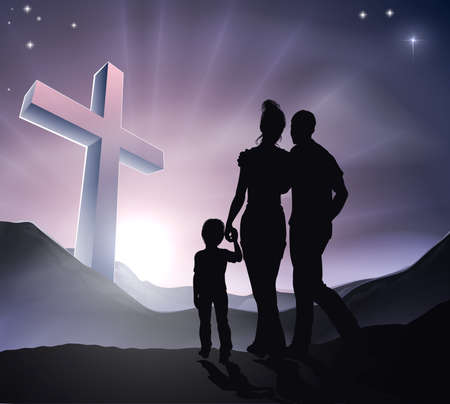 praise: A Christian family with a cross in a mountain landscape and a sunrise, Christian family life or Easter concept