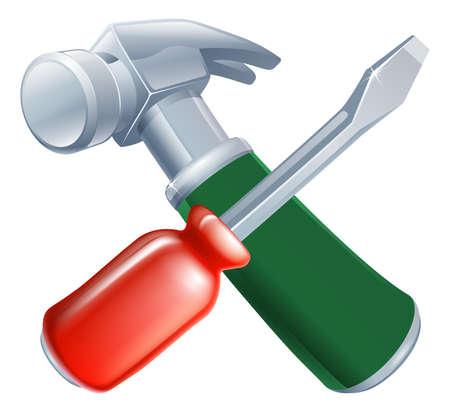 handy man: Attraversata cacciavite e strumenti martello icona di strumenti di cartoni animati incrociate, costruzione o fai da te o il concetto di servizio
