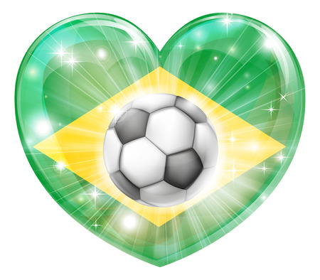socer: Brazil soccer football ball flag love heart concept with the Brazilian flag in a heart shape and a soccer ball flying out