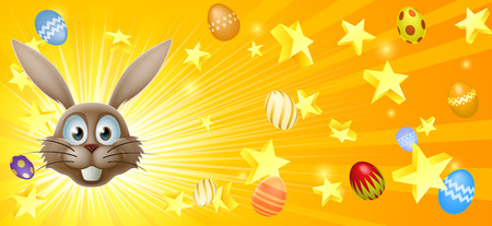 Easter bunny and eggs banner background with the Easter bunnies face in the centre and eggs and stars Vector