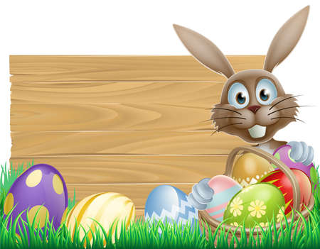 rabit: Easter wood sign with the Easter bunny and chocolate Easter eggs Illustration
