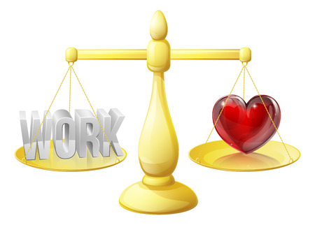 work life balance: Relationship or career scales concept of work on one side and a heart representing love on the other, could also be about work life balance.