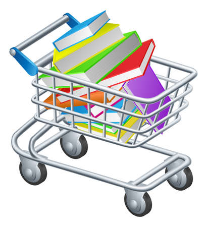 book shop: Shopping trolley books concept of a supermarket shopping trolley full of books