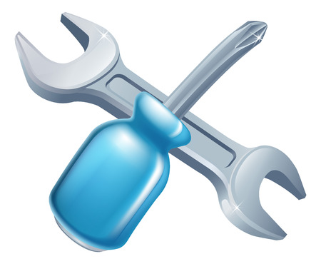 Crossed spanner and screwdriver tools icon of cartoon tools crossed, construction or DIY or service concept Illustration