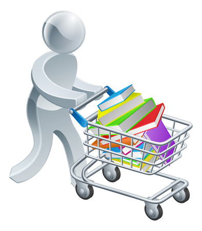 A person pushing a shopping cart or trolley with a large stack of books in it Vector