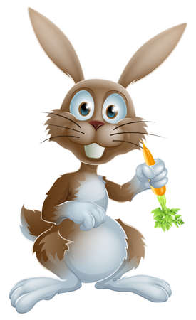 ester: Cute cartoon bunny rabbit or Easter bunny holding a carrot and looking at viewer
