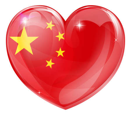 china flag: China flag love heart concept with the Chinese flag in a heart shape