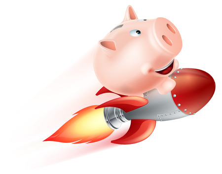 money pig: An illustration of a piggy bank riding on a rocket flying through the air