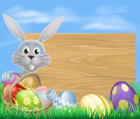 Easter sign with white Easter bunny rabbit and Easter eggs Vector