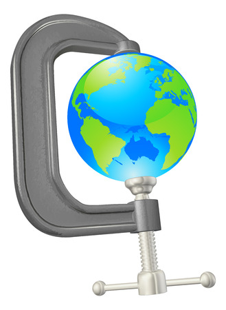 c clamp: Illustration of a globe in a clam, could have lots of uses such as squeezing the earth for its resources, environmental applications etc. Illustration