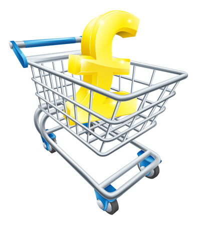troley: Pound currency trolley concept of Pound sign in a supermarket shopping cart or trolley Illustration